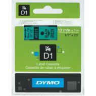 Dymo D1 kazetta, 12mmx7m, fekete/zöld