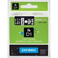 Dymo D1 kazetta, 19mmx7m, fehér/fekete