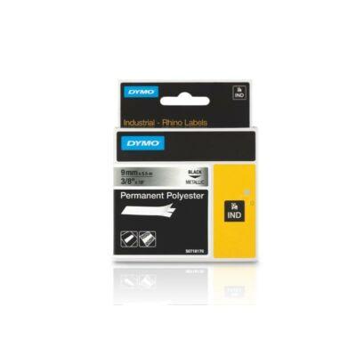 ID1 poliészter szalag 9mmx5,5, fekete/metálszürke (18760)