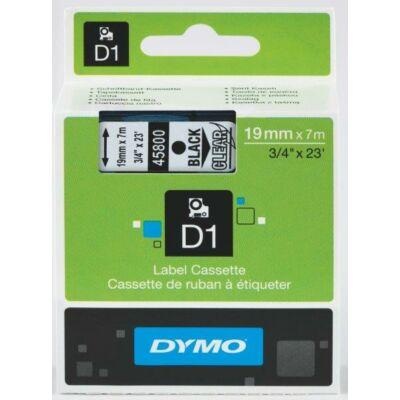 Dymo D1 kazetta, 19mmx7m, fekete/víztiszta (45800)