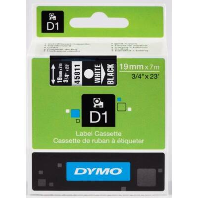 Dymo D1 kazetta, 19mmx7m, fehér/fekete (45811)