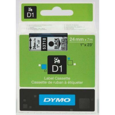 Dymo D1-es kazetta fekete/víztiszta 24mmx7m (53710)